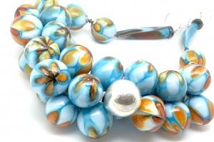 handgemaakte ketting van glas en zilver